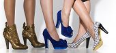 stock photo of platform shoes  - Three different pairs of women - JPG
