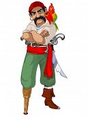 foto of saber  - Illustration of cartoon pirate with parrot - JPG