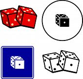 dices illustrations symbol and sign set