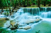 foto of waterfalls  - Huay Mae Khamin Paradise Waterfall located in deep forest of Thailand. Huay Mae Khamin - Waterfall is so beautiful of waterfall in Thailand Huay Mae Khamin National Park Kanchanaburi Thailand.