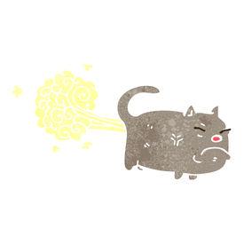 stock photo of fart  - retro cartoon farting cat - JPG