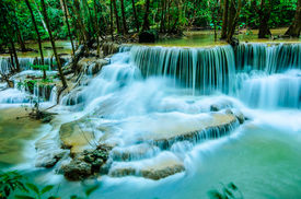 image of cataracts  - Huay Mae Khamin Paradise Waterfall located in deep forest of Thailand. Huay Mae Khamin - Waterfall is so beautiful of waterfall in Thailand Huay Mae Khamin National Park Kanchanaburi Thailand.