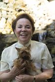 foto of grandma  - Portrait Of Family Happy Grandma And Dog At Home - JPG