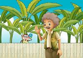 picture of ape-man  - Illustration of an old man near the fence with a monkey - JPG