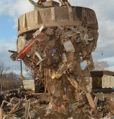 picture of scrap-iron  - Electromagnetic pull scrap metal for moving to truck - JPG
