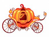picture of cinderella coach  - Pumpkin carriage for Cinderella or Halloween isolated over white - JPG