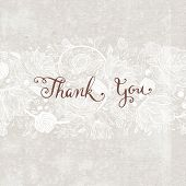 stock photo of courtesy  - Hand Made Calligraphy Lettering Thank You - JPG