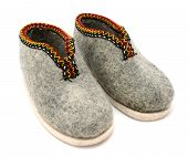 Pair Of Traditional Austrian Embroidered Felt Slippers