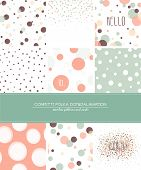 A set of 9 Confetti, Polka Dot and Dalmatian seamless patterns and greeting cards with space for you