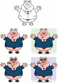 Businessman Pig Cartoon Character 2  Collection Set