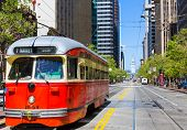 SAN FRANCISCO - APRIL 20, 2031: F Market & Wharves F line is a vintage heritage streetcar service op