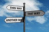 foto of confusing  - Crossroad signpost saying this way - JPG