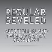 Beveled Outline Font And Digit, Eps 10 Vector, Editable For Any Background