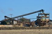 stock photo of sand gravel  - Gravel Extraction Works with sand and gravel - JPG