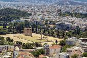 image of olympian  - view from the Acropolis on the temple of Olympian Zeus Athens - JPG
