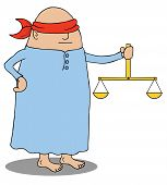 picture of blindfolded man  - Illustration of a blindfolded man holding a scale - JPG