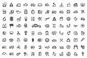 stock photo of auto garage  - vector black auto icons set - JPG