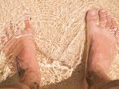 picture of wet feet  - Bare Feet On The Sand Beach Outside - JPG
