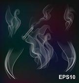 picture of steamy  - White transparent steam collection on dark background - JPG