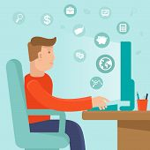 stock photo of self-employment  - Vector self employed man in flat style  - JPG
