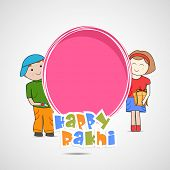 image of rakshabandhan  - Cute little sister and brother holding a pink banner with colorful text on grey background for the occasion of Raksha Bandhan celebrations - JPG