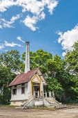 foto of crematory  - Cremations in Thai temple with blue sky - JPG