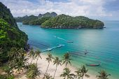 pic of thong  - Sea beach island sky with bird eye view at Mu Ko Ang Thong - JPG