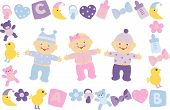 stock photo of twin baby girls  - newborn boy girl childhood toy little clip - JPG