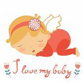 stock photo of little angel  - I love my baby cute card with lIttle angel sleeping - JPG