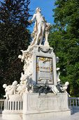 foto of mozart  - A statue of Wolfgang Amadeus Mozart in public park Burggarten in the center of Vienna - JPG