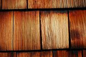 image of shingles  - construction of roof with wood tile shingles - JPG