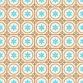 stock photo of symmetry  - Orange Vintage blossom and circle and hexagon and rectangle seamless pattern on pastel background - JPG