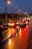 foto of rainy season  - urban traffic in rainy evening in Moscow - JPG