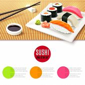 picture of chopsticks  - Sushi roll realistic and bamboo mat with chopsticks and soy sauce japanese menu background vector illustration - JPG
