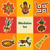 picture of swastika  - India travel traditional culture hinduism symbols decorative colored sketch icons set isolated vector illustration - JPG