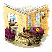 picture of interior sketch  - Living room interior sketch colored background with fireplace couch table picture vector illustration - JPG