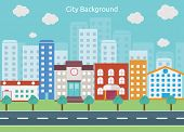 picture of school building  - City Background is a Big city with small and medium business - JPG