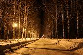 foto of novosibirsk  - Lights illuminate the road in the village - JPG