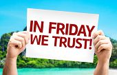picture of friday  - In Friday We Trust card with a beach background - JPG