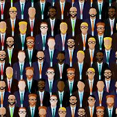 stock photo of politician  - vector seamless pattern with businessmen or politicians crowd - JPG