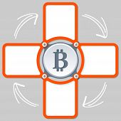 foto of bit coin  - four areas for any text and bit coin symbol - JPG