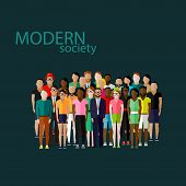 picture of population  - vector flat  illustration of society members with a large group of men and women - JPG
