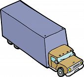pic of moving van  - Single hand drawn moving van over white background - JPG