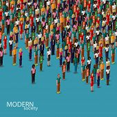foto of urbanization  - vector 3d isometric illustration of society members with a crowd of men and women - JPG