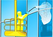 stock photo of window washing  - building washing - JPG