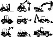 image of dump_truck  - Silhouette illustration of heavy equipment and machinery - JPG