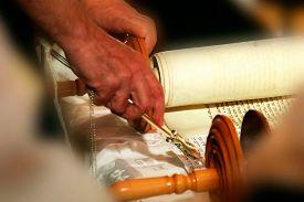 foto of torah  - Torah scrolls and hand - JPG