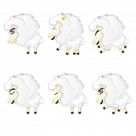 image of chibi  - Set of cute sheep chibi style in different expressions - JPG