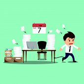 foto of ball chain  - Businessman chained to the office desk on sunday vector illustration - JPG