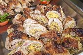 picture of buffet  - Closeup detail of topkapi chicken dish on display at an oriental restaurant buffet - JPG